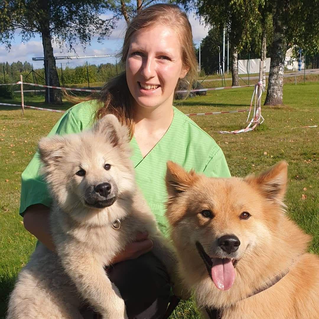 Bild på Hanna Claesson med två hundar